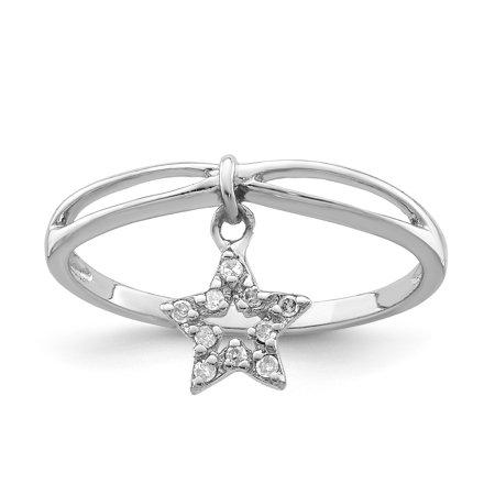 925 Sterling Silver Rhodium Plated Diamond Star Dangle Ring