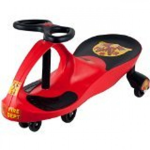 Lil' Rider Rescue Firefighter Wiggle Ride-On Car, Red by Trademark Global - Toys