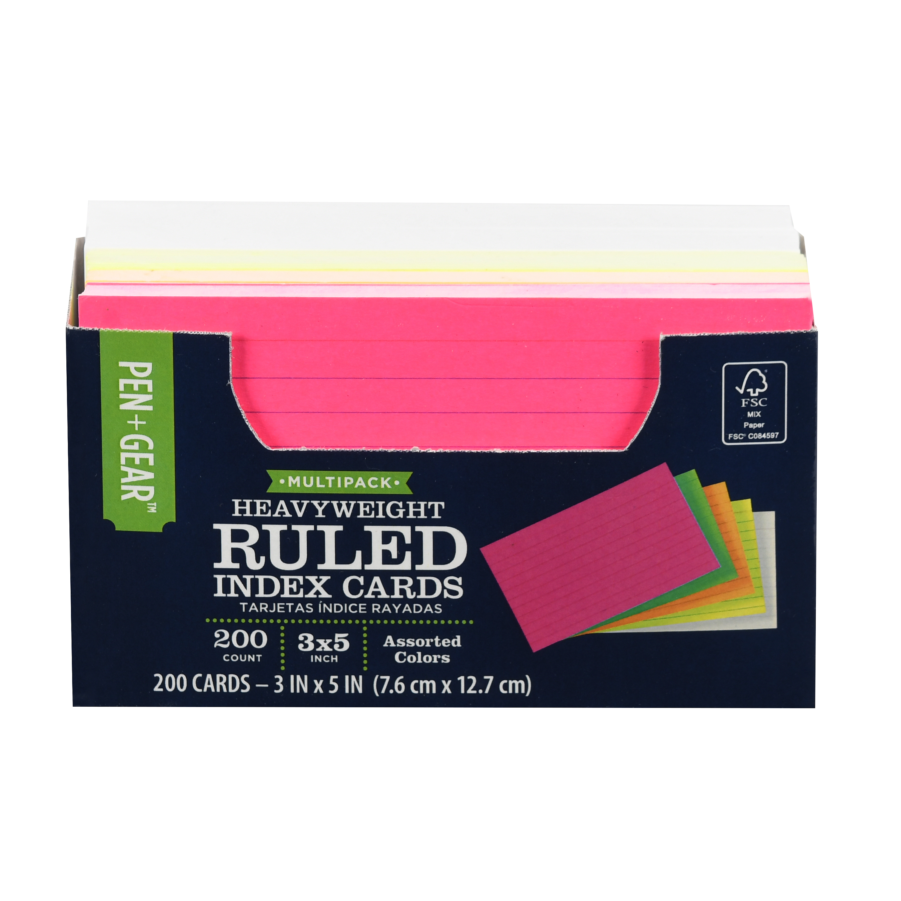 """Pen + Gear Heavyweight Ruled 3"""" x 5"""" Index Cards, Assorted Colors, 200 ct"""