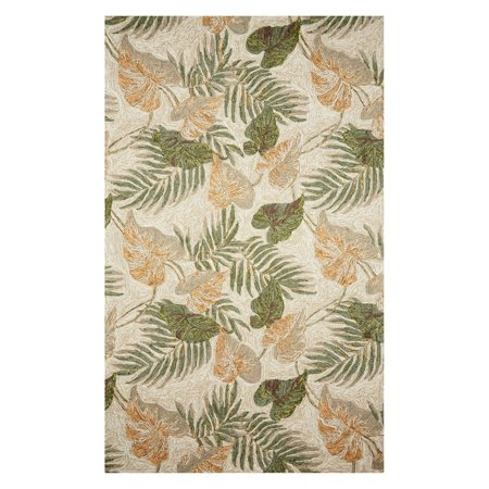 Polyester Tropical Rug (Liora Manne Ravella 2066/12 Tropical Leaf Neutral Area Rug 42 Inches X 66 Inches )