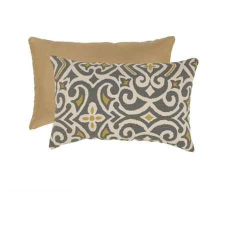 Pillow Perfect Gray and Greenish-Yellow Damask Rectangular Throw Pillow ()