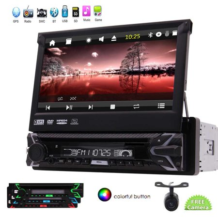 EinCar Single Din in Dash Newest Wince Car Stereo Head Unit Autoradio Bluwtooth Car DVD GPS Player/ 7incn Flip Out Touchscreen Display Audio Video Receiver System USB/SD/FM/AM + Rear