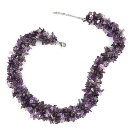 Stainless Steel Beads Amethyst Chips Knitted Necklace Costume Promise Stylish Elegant Fashion Jewelry Gift for Women Size 18