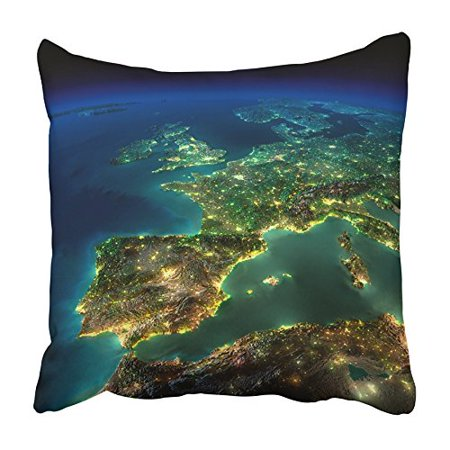 CMFUN Highly Detailed Earth Illuminated By Moonlight the Glow of Cities Sheds Light Pillowcase Cushion Cover 20x20 inch - Glow City Com