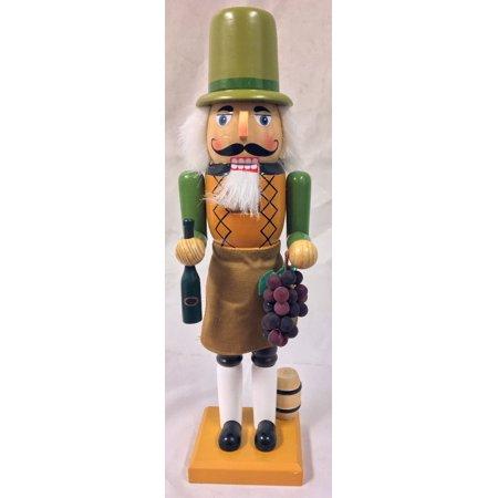 Winemaker Holding Grapes and Wine Bottle Wooden Christmas Nutcracker 14