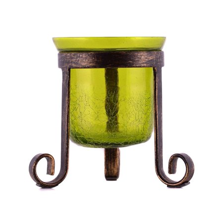 Crackled Green Glass Tealight Votive Candle Holder with Tripod Stand Evening Wedding Parties Home Decor Table Decoration Gift by MystiqueDecors
