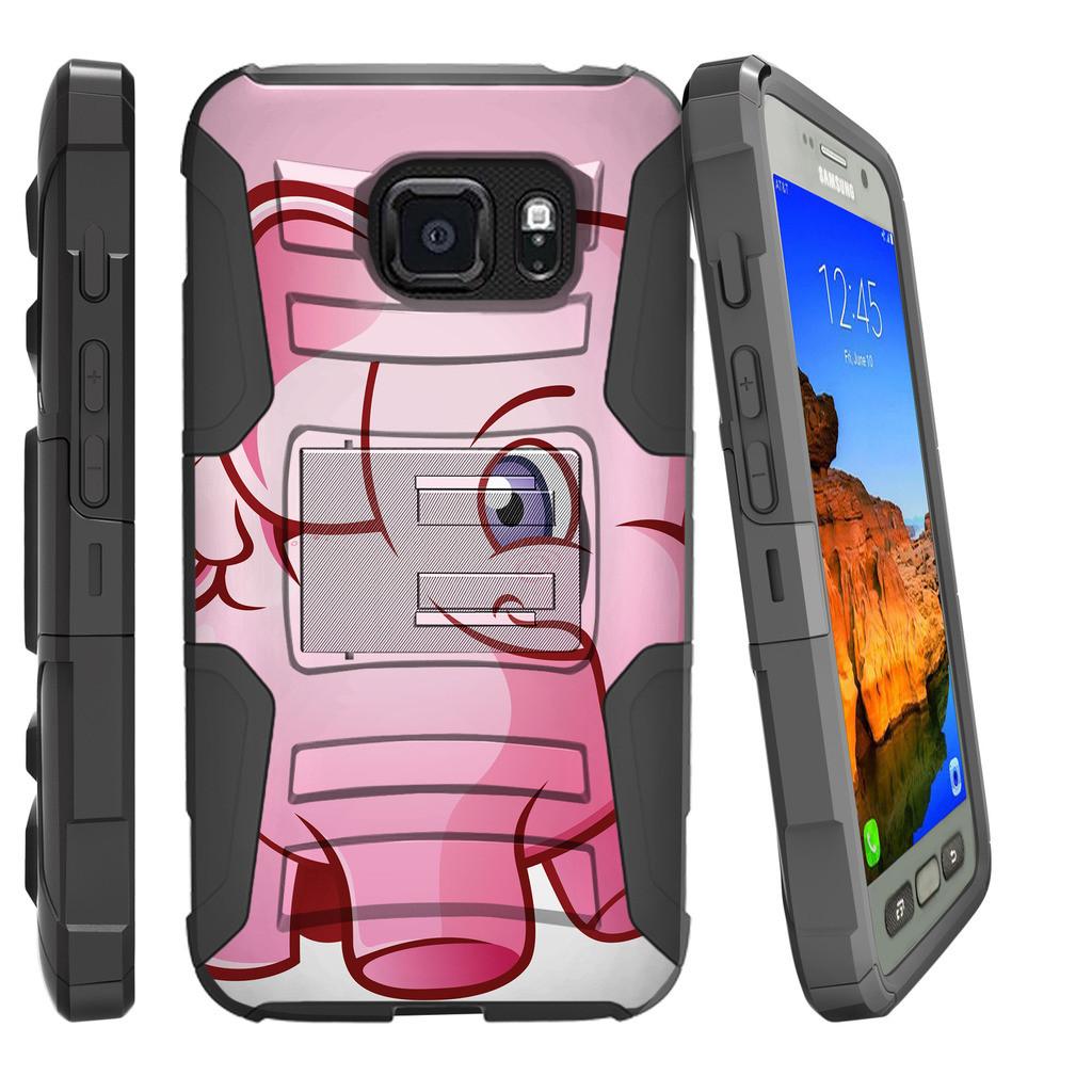 Samsung Galaxy [S7-ACTIVE G891/891A Model] Miniturtle® Clip Armor Dual Layer Case Rugged Exterior with Built in Kickstand + Holster - Cartoon Giraffe