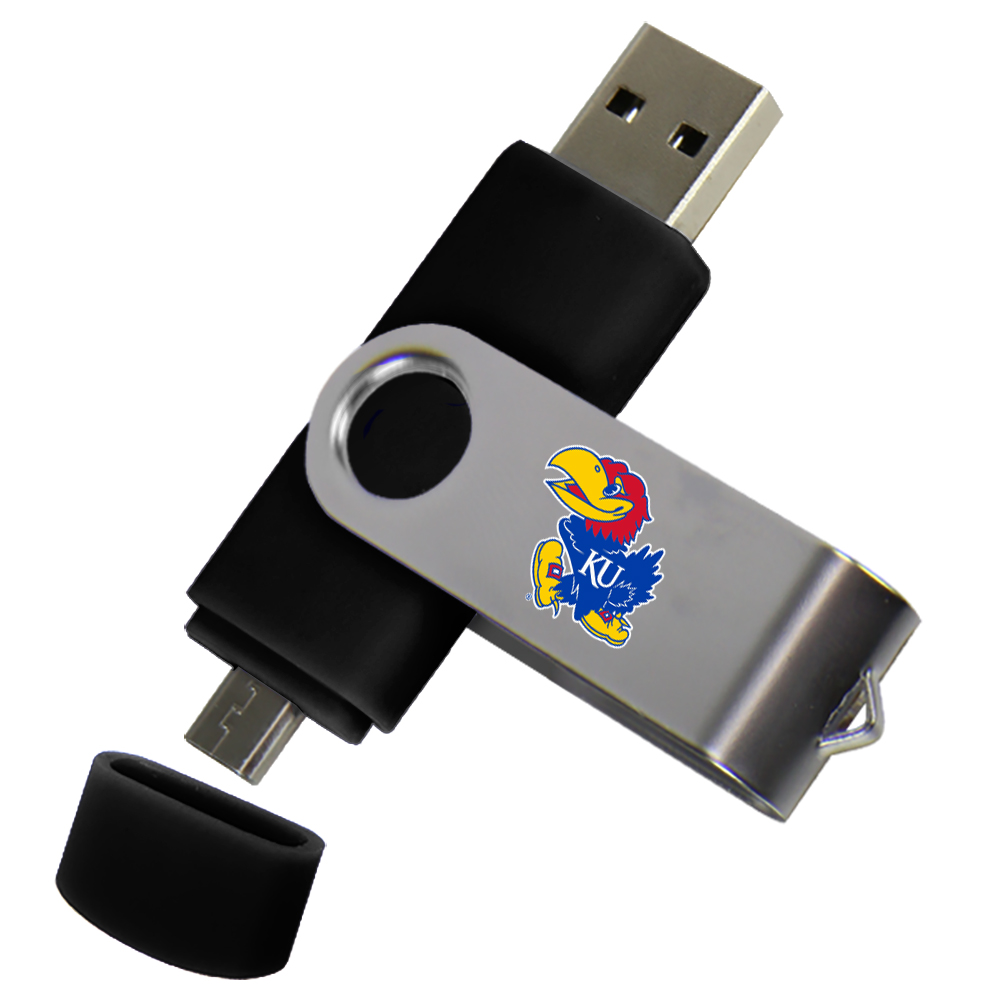 Kansas Jayhawks Dual Pro Micro to USB Drive 16GB Black
