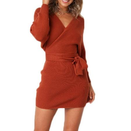 Femmes Hiver Vintage Robe Tricotee Elegant A Manches Longues Bandage Dos Nu Jumper Casual Mini Robe De Fete Walmart Canada
