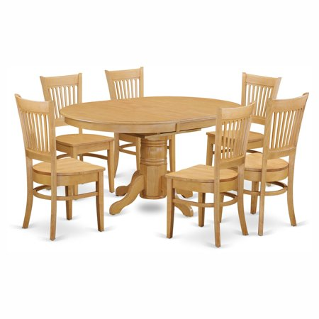 Oval 7 Piece (East West Furniture Avon 7 Piece Pedestal Oval Dining Table Set with Vancouver Wooden Seat Chairs )