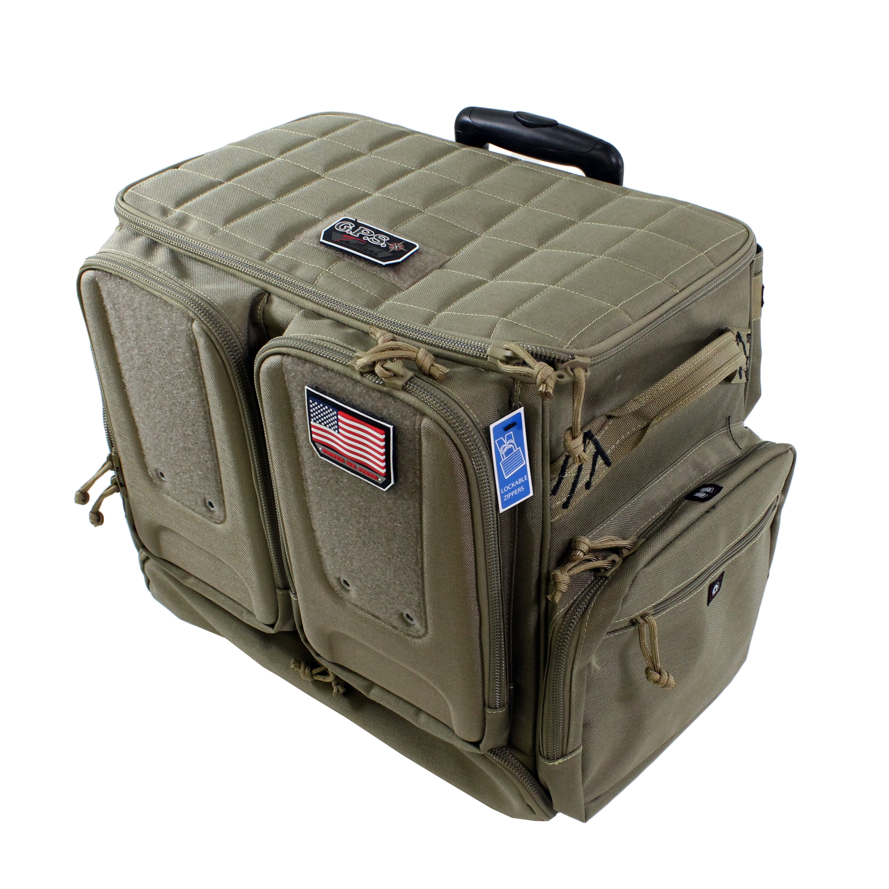 G Outdoors Range Bag Tactical Rolling, 10 Handguns, Tan