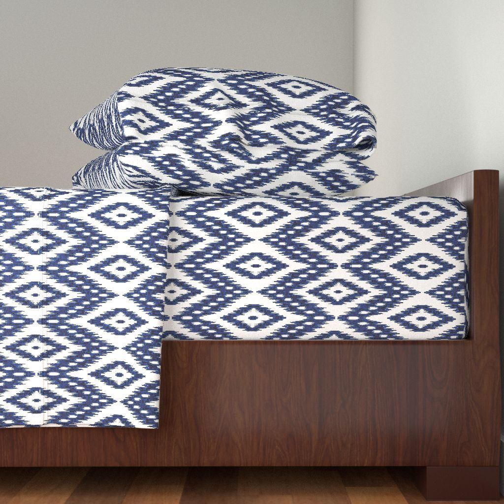 Ikat Navy Ikat Blue Ikat Blue White 100% Cotton Sateen Sheet Set by Roostery