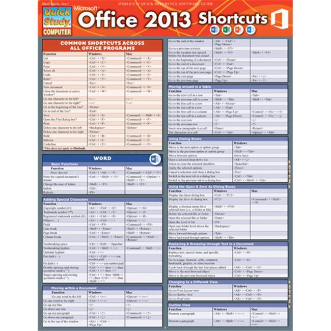 BarCharts 9781423221715 Microsoft Office 2013 Shortcuts Quickstudy Easel