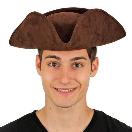 Tricorn Pirate Hat - Adult Deluxe Faux Suede Tricorne Tri-Corner Tricorn Pirate Colonial Costume Hat