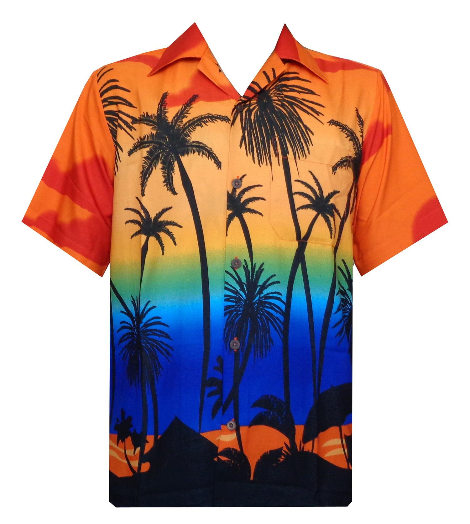 Ewindy Mens Hawaiian Shirt Beautiful Sunset Coconut Hawaiian Shirts Aloha Casual Button Down Short Sleeve Shirt