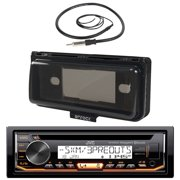 "JVC KD-R99MBS In-Dash Marine Boat Bluetooth Radio USB CD Receiver Bundle Combo With Enrock EMC56B Black Water Resistant Housing + Enrock EKMR1 Water Resistant 22"" Inch Radio Antenna"