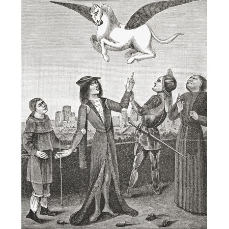 The Horse Pegasus Behold A Flying Horse Called Pegasus And Several Nobles Some Armed Some Not Of All Conditions Kings Princes And Others Which Lift Up Their Hands To Try And Touch The Said Horse But A