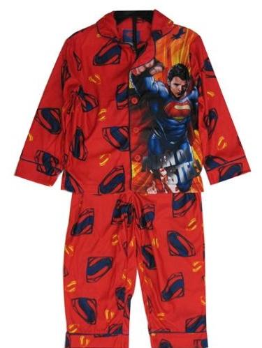 s Big Boys Red Superman Character Logo Print 2 Pc Sleepwear Set 10-12