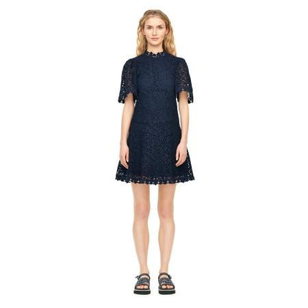 Ann Taylor Lace (Rebecca Taylor Navy Floral Lace Short Sleeve Dress)