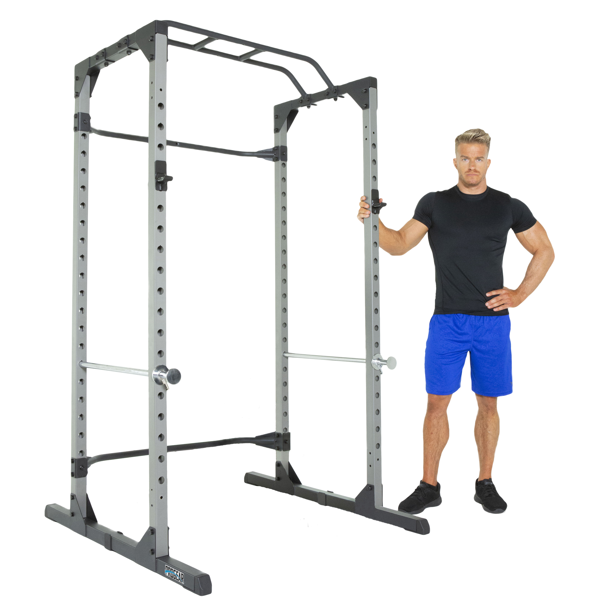 Progear 1600 Ultra Strength 800lb Weight Capacity Power Rack Cage with Lock-in J-Hooks