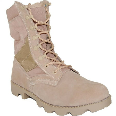 American Shoe Factory Combat Sand Suede Leather 8 Inch Boots, Men (Factory Bolt)