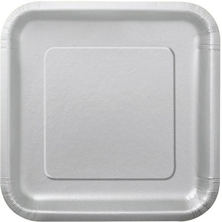 Baroque Silverplate (Square Paper Plates, 7 in, Silver,)