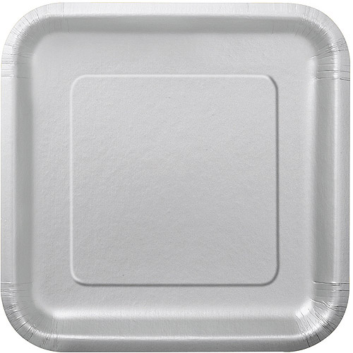 Square Paper Plates 7 in Silver 16ct : paper plates at walmart - pezcame.com