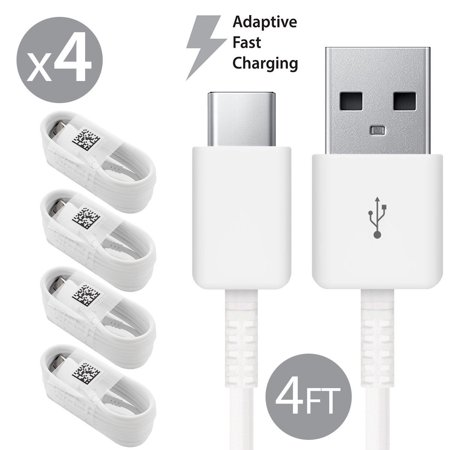 4 Pack Afflux USB Type C USB-C Fast Charging Cable USB-C 3.1 Data Sync Charger Cord For Samsung Galaxy S8 S8+ S9 S9+ Galaxy Note 8 9 Nexus 5X 6P OnePlus 3t 5 5t LG G5 G6 V20 V30 Google Pixel 2 2XL 4FT