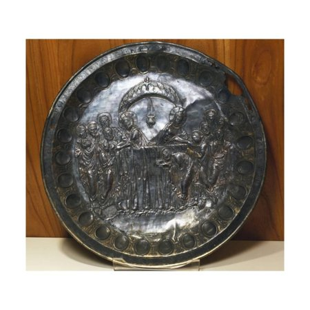 Silver Plate Depicting the Last Supper, from Aleppo, Syria, Byzantine Civilization, 5th Century Print Wall (Last Supper Collector Plate)