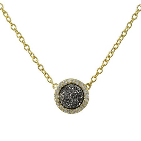 Sterling Silver Drusy Agate - 16 in. Gold Tone Sterling Silver 8 mm Round Cubic Zirconia Grey Druzy Necklace