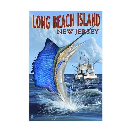 Long Beach Island New Jersey Sailfish Deep Sea Fishing Print By Lantern Press