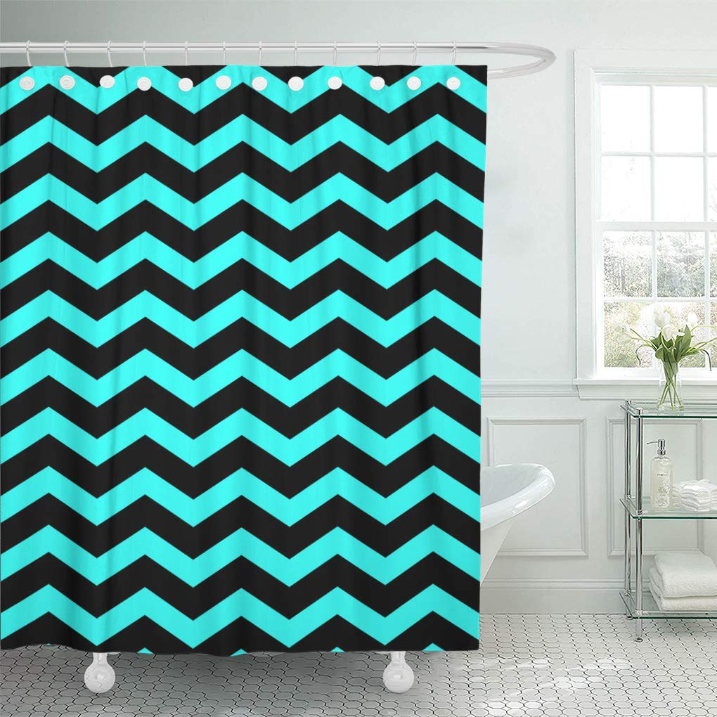 The Texture Of Teal And Turquoise: CYNLON Black And Teal Aqua Blue Chevron Pattern Texture