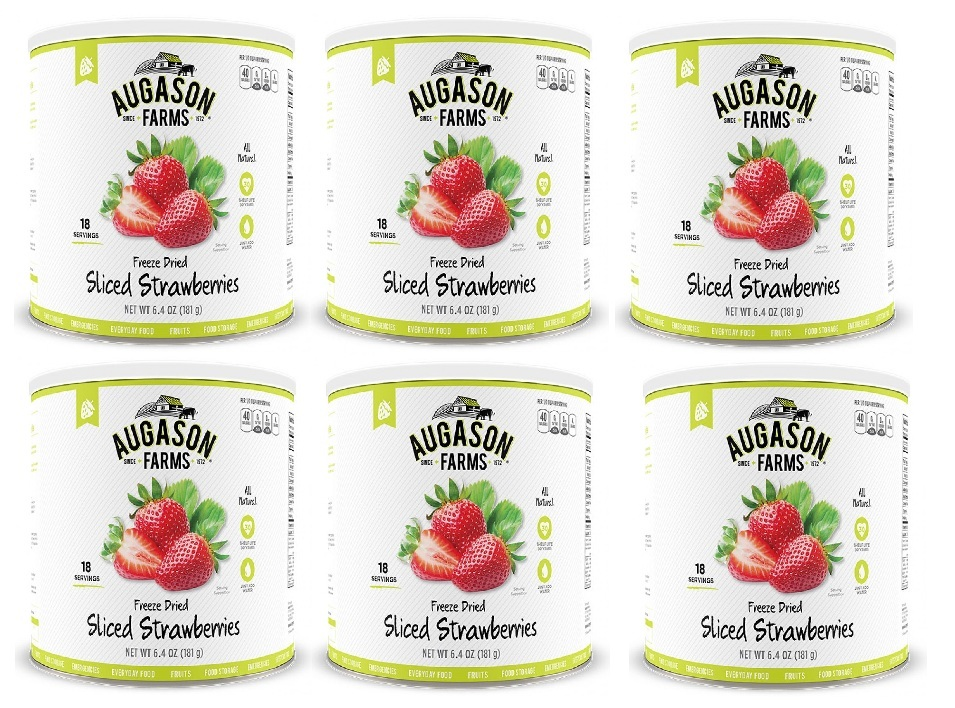 Augason Farms Freeze Dried Fruit Sliced Strawberries 6 Cans Combo by