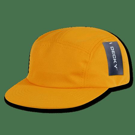 Gold Flat Handle - Decky 5 Panel Retro Flat Bill Performance Mesh Racer Cap Hat Caps Hats For Men Women Unisex