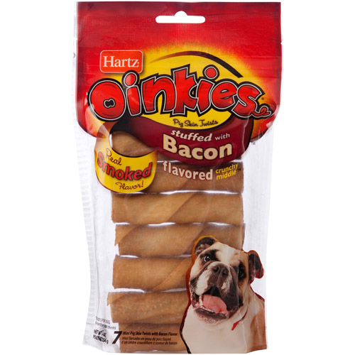 Hartz Oinkies Treats for Dogs Stuffed with Bacon, 7 count, 4.7 oz