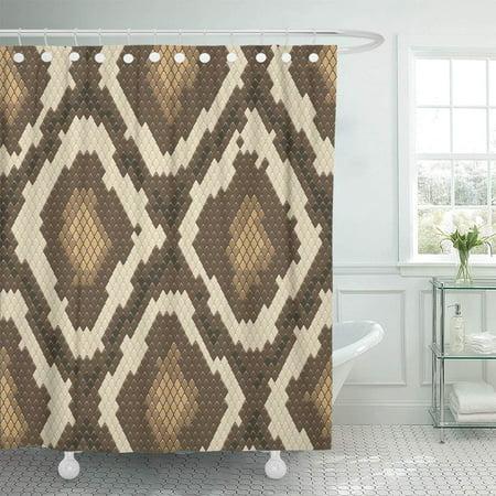 KSADK Animal Snake Skin Brown and Natural Scale Rattlesnake Reptile Serpent Python Bathroom Shower Curtain 60x72 inch