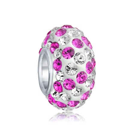 Multi Color White Crystal Spacer Bead Core 925 Sterling Silver Fits European Charm Bracelet For Women For Teens