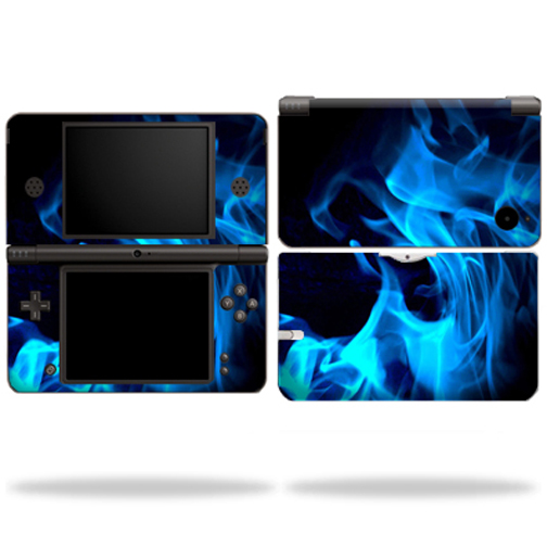 Mightyskins Protective Vinyl Skin Decal Cover for Nintendo DSi XL wrap sticker skins Blue Flames