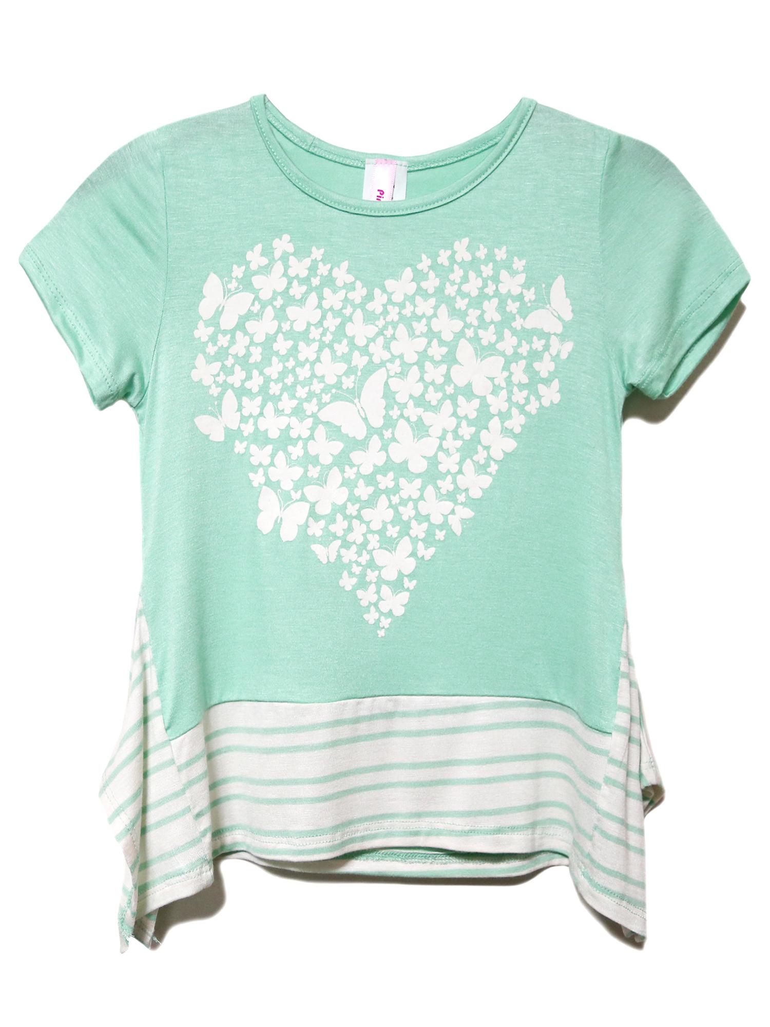BASICO Girl's USA Short Sleeve T Shirts Graphic Printed Tees
