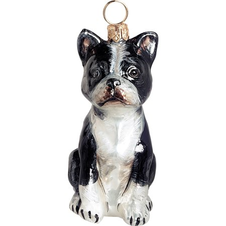 Boston Terrier Dog Ornament - Boston Terrier Sitting Dog Blown Glass Polish Christmas Ornament Tree Decoration