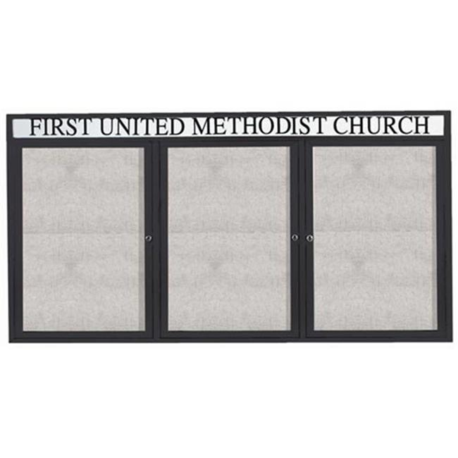 Aarco Products ODCC3672-3RHIBK 3-Door Illuminated Outdoor Enclosed Bulletin Board with Header - Black