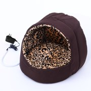Aosom LLC Pawhut Hooded Indoor Electric Heated Round Dog Pet Bed