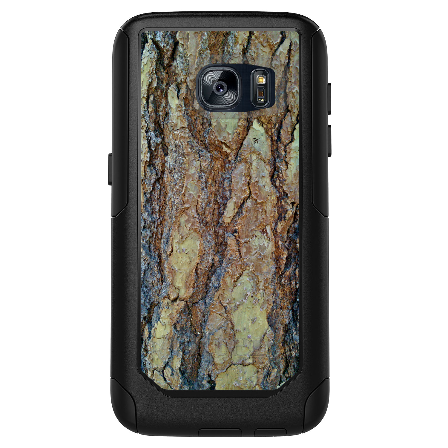 DistinctInk™ Custom Black OtterBox Commuter Series Case for Samsung Galaxy S7 - Yosemite Redwood Bark