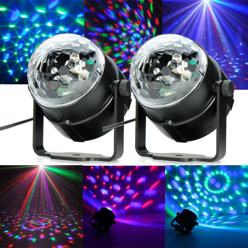 2 pack dj light sound activated party rgb lights disco ball iclover club