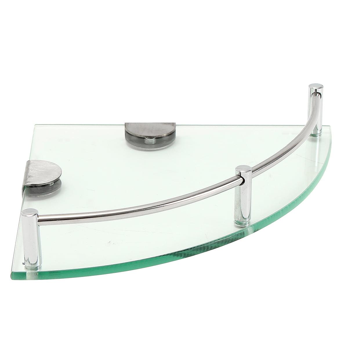 Modern Glass Corner Holder Triangular Shelf Wall Mounted Bathroom Shower