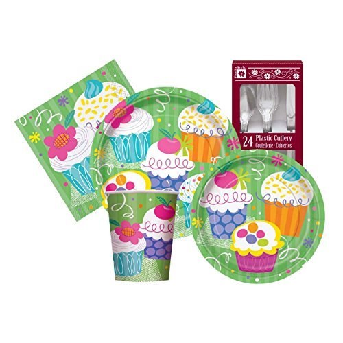 Cupcake Themed Birthday Party Supply Kit Serves 8