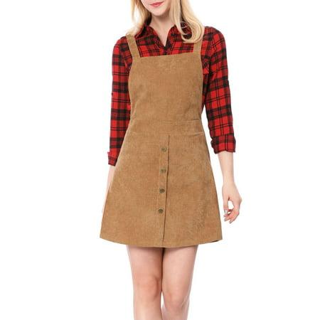 Women's Corduroy Button Decor A Line Suspender Overall Dress Skirt