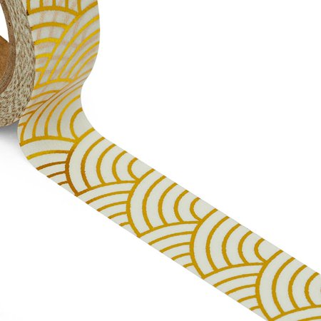 """9/16"""" X 10 Yards Gold/White Japanese Waves Washi Tape by Paper Mart"""