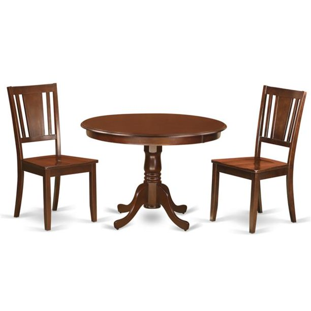 Dining Set One Round Small Table 2 Chairssolid Wood Seat 44 Mahogany 42 In 3 Piece Walmart Com Walmart Com