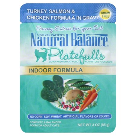 Natural Balance Platefulls Indoor Turkey, Salmon & Chicken Formula in Gravy Cat Pouch ()